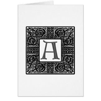 "Silver Celtic ""A"" Monogram Card"