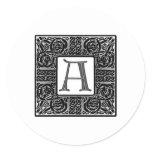 "Silver Celtic ""A"" Monogram Classic Round Sticker"