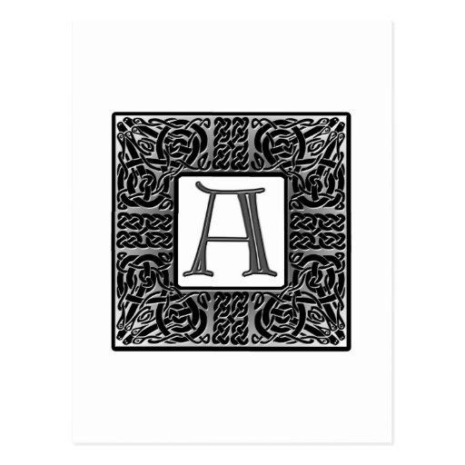 "Silver Celtic ""A"" Monogram Postcard"