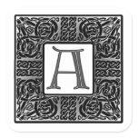"""Silver Celtic """"A"""" Monogram Square Sticker"""