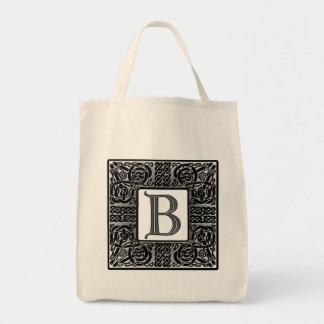 "Silver Celtic ""B"" Monogram Canvas Bag"