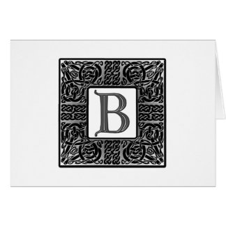"Silver Celtic ""B"" Monogram Greeting Cards"