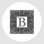 "Silver Celtic ""B"" Monogram Classic Round Sticker"