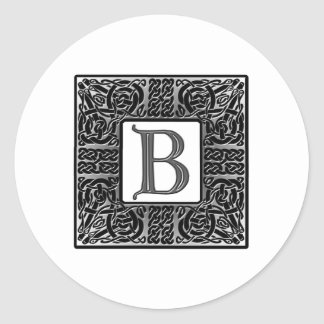 "Silver Celtic ""B"" Monogram Classic Round Sticker"