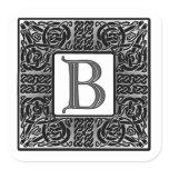 """Silver Celtic """"B"""" Monogram Square Sticker"""