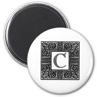 "Silver Celtic ""C"" Monogram 2 Inch Round Magnet"