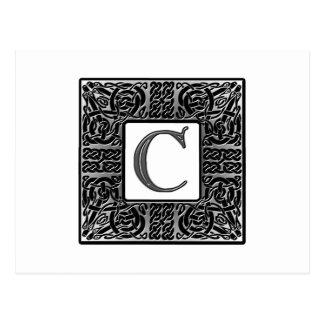 "Silver Celtic ""C"" Monogram Postcard"