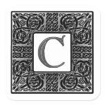 """Silver Celtic """"C"""" Monogram Square Sticker"""