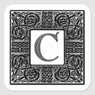 "Silver Celtic ""C"" Monogram Square Sticker"