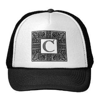 """Silver Celtic """"C"""" Monogram Trucker Hat"""
