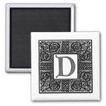 "Silver Celtic ""D"" Monogram Magnet"