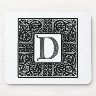 """Silver Celtic """"D"""" Monogram Mouse Pad"""