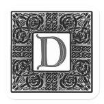 """Silver Celtic """"D"""" Monogram Square Sticker"""