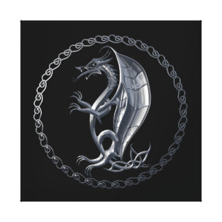 Silver Celtic Dragon Stretched Canvas Print