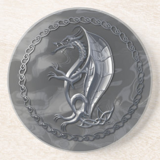 Silver Celtic Dragon Drink Coasters
