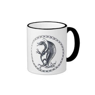 Silver Celtic Dragon Coffee Mug