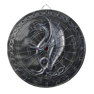 Silver Celtic Dragon Dartboard With Darts
