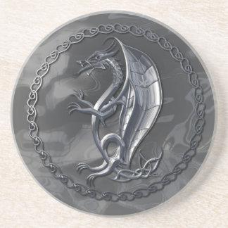 Silver Celtic Dragon Drink Coaster