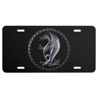 Silver Celtic Dragon License Plate