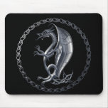 Silver Celtic Dragon Mouse Pad