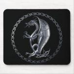 Silver Celtic Dragon Mouse Pad