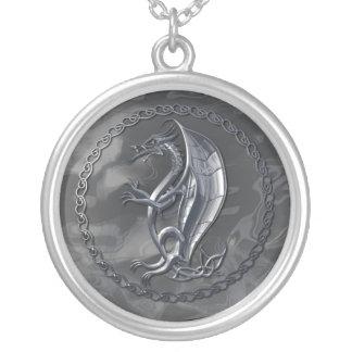Silver Celtic Dragon Round Pendant Necklace