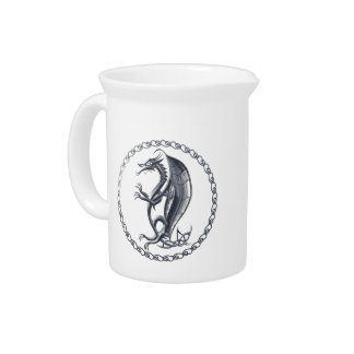 Silver Celtic Dragon Pitcher