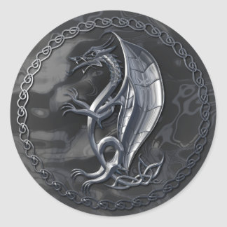 Silver Celtic Dragon Sticker