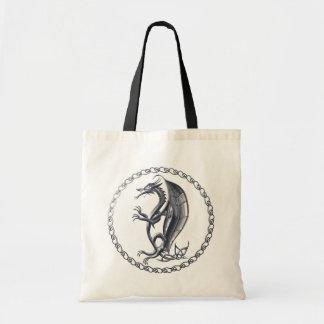 Silver Celtic Dragon Tote Bag