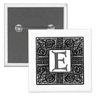 """Silver Celtic """"E"""" Monogram Button"""