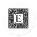 """Silver Celtic """"E"""" Monogram Classic Round Sticker"""