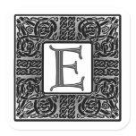 """Silver Celtic """"E"""" Monogram Square Sticker"""