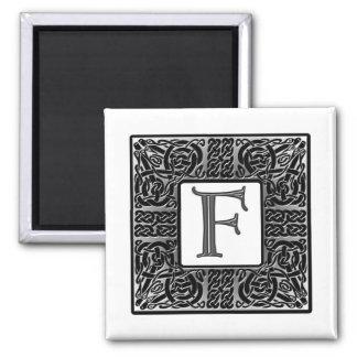 "Silver Celtic ""F"" Monogram 2 Inch Square Magnet"