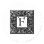 """Silver Celtic """"F"""" Monogram Classic Round Sticker"""