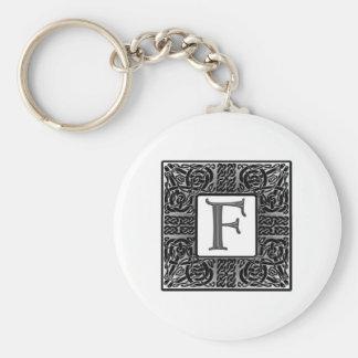"Silver Celtic ""F"" Monogram Keychain"