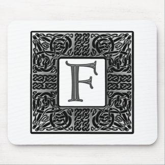 "Silver Celtic ""F"" Monogram Mouse Pad"