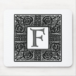 "Silver Celtic ""F"" Monogram Mouse Pad"