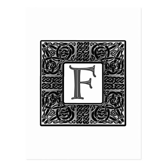 "Silver Celtic ""F"" Monogram Postcard"