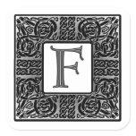 """Silver Celtic """"F"""" Monogram Square Sticker"""