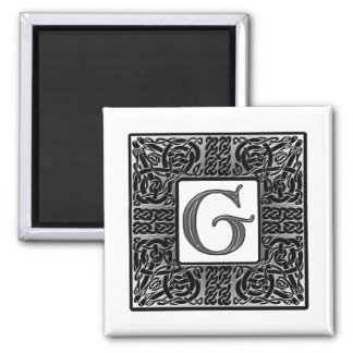 "Silver Celtic ""G"" Monogram 2 Inch Square Magnet"