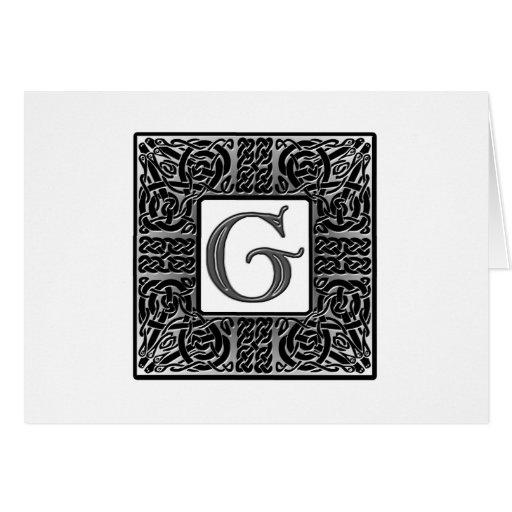 "Silver Celtic ""G"" Monogram Greeting Card"