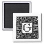 "Silver Celtic ""G"" Monogram Magnet"