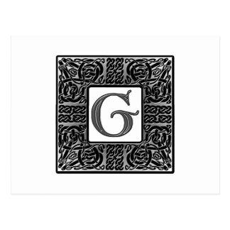 "Silver Celtic ""G"" Monogram Postcard"