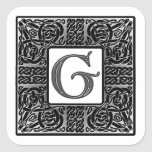 """Silver Celtic """"G"""" Monogram Square Sticker"""