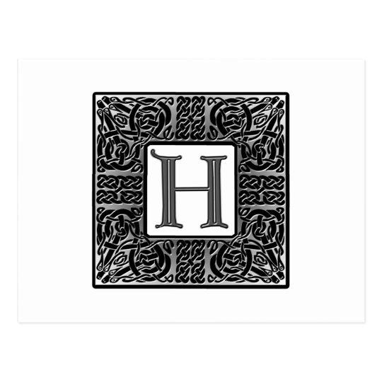 "Silver Celtic ""H"" Monogram Postcard"