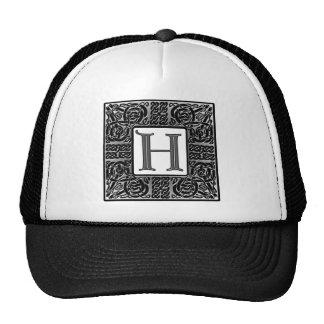 """Silver Celtic """"H"""" Monogram Trucker Hat"""