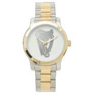 Silver Celtic Harp Watch at Zazzle