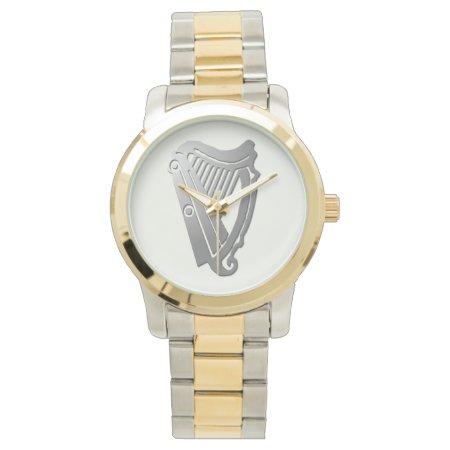 Silver Celtic Harp Watch
