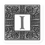 """Silver Celtic """"I"""" Monogram Square Sticker"""