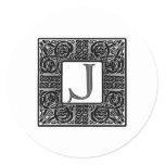 "Silver Celtic ""J"" Monogram Classic Round Sticker"